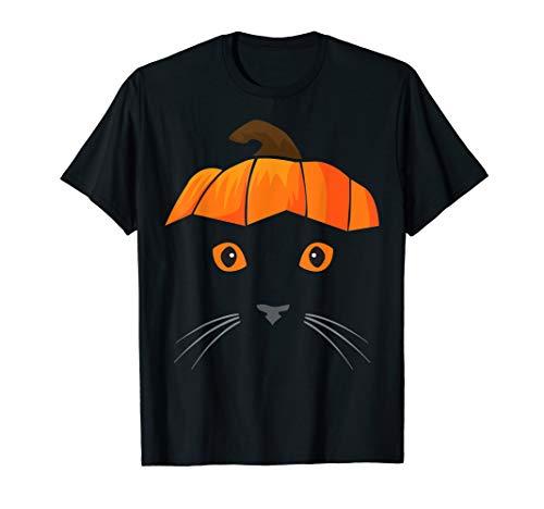 Cat Wearing Pumpkin Hat Shirt, Face Halloween Costume Gift