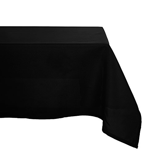 Deconovo Solid Oxford Square Waterproof Wrinkle Resistant Tablecloth For Dining Room 60 by 60 Inch Black - Dining Room Buffet Accessories