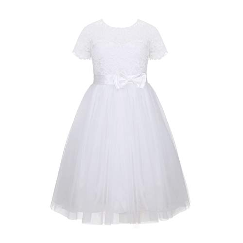 YiZYiF Girls Kids Lace Flower Pageant Wedding Bridesmaid Ruffles Lace-up Formal Party First Communion Dress White 12]()