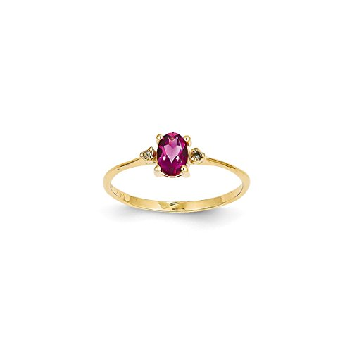 ICE CARATS 14k Yellow Gold Diamond Pink Tourmaline Birthstone Band Ring Size 6.00 Stone October Oval Style Fine Jewelry Ideal Mothers Day Gifts For Mom Women Gift Set From Heart (Pink Ring Ice Style)