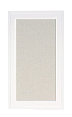 DesignOvation Bosc Framed Linen Fabric Pinboard, 13.5x23.5, White
