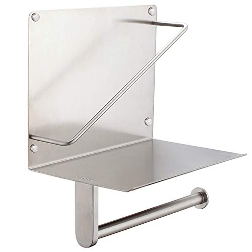 - Toilet Paper Holder with Magazine Rack, APL Bathroom Accessories SUS 304 Stainless Steel Tissue Roll Dispenser Newspaper Storage Shelf, Brushed Nickel
