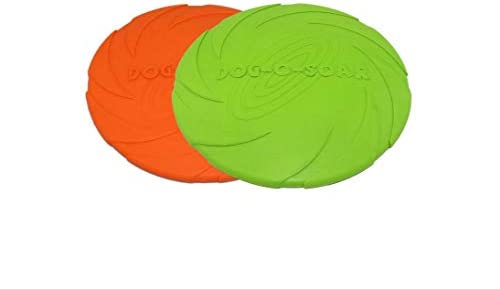 BEHAHA Flyer Dog Toy Flying disc Floating Frisbee Fetch Toy Lightweight Durable Rubber -Green&Orange