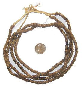 Natural Plant Seed Beads 2 Strands 4mm West Africa African Brown Wood Large Hole Crafting Key Chain Bracelet Necklace Jewelry Accessories Pendants