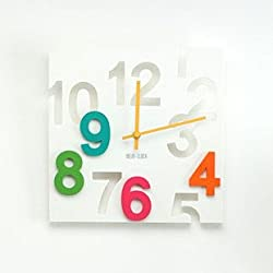 JustNile Modern Creative Square 12-inch Wall Clock - 3D White Number Cut-Out