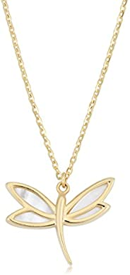 Kooljewelry 14k Yellow Gold Mother of Pearl Dragonfly Necklace (18 inch)