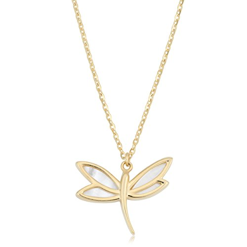 (Kooljewelry 14k Yellow Gold Mother of Pearl Dragonfly Necklace (18 inch))