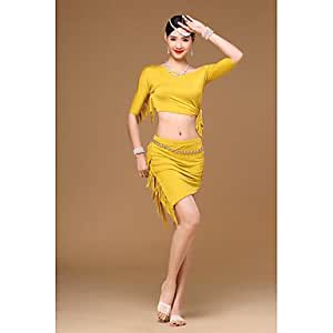 Belly Dance Outfits Training Modal Tassel(s) 2 Pieces Half Sleeve Dropped Top Skirt , one size
