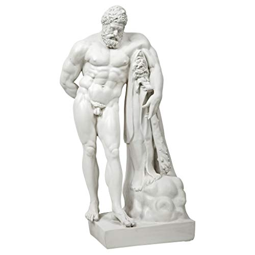 Design Toscano Farnese Hercules Roman God Garden Statue, 30 Inch, Polyresin, Antique - Marble Lion Statues