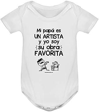 Missborderlike Body Manga Corta Blanco Mi Papa es un Artista y yo Soy su Obra Favorita