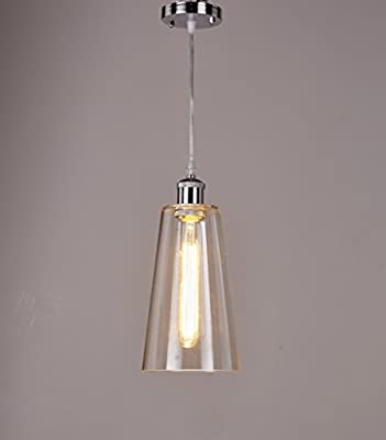 EdisonHouse Silver Industrial Ceiling Pendant Light Adjustable Hanging Height Clear Glass Lamp Modern Vintage Farmhouse Kitchen Fixture EH-686/D-1L W5xH13