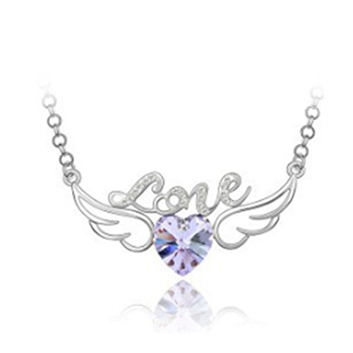 [Meidus Classic Love Heart Angel Wings Crystal Necklace Pendant Alloy Necklace For Women] (Necklace Love Beads)