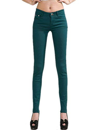 Juniors Tinta Women Treggings In Con Donna Denim Giovane Elasticizzata Gamba S Pantalone Anaisy Leggings Unita color Bottoni Da Skinny Dunkelgrün Size qwx6cz0