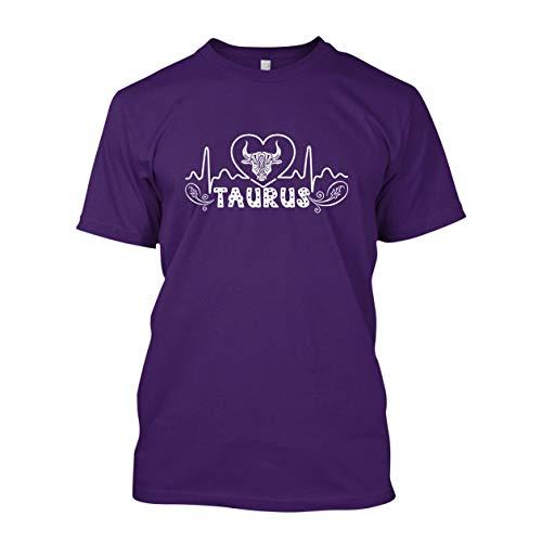 Taurus Heartbeat Adult Unisex Shirts, T Shirts Gift Idea Purple,L