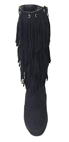 G4u-xs G-xs Mujeres Fringe Moccasin Botas Suede Flat 3-layer Zipper Moda Rodilla Mediados De La Pantorrilla, Negro, Camel Black