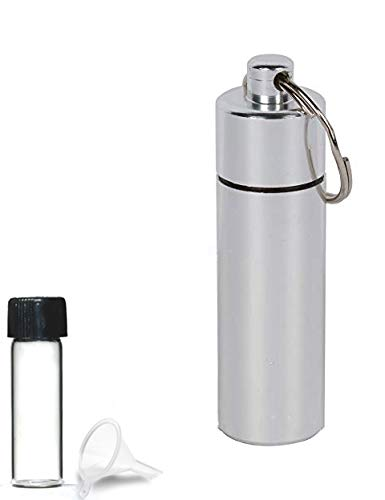 iSnuff Silver Aluminum Case with Glass Vial and Mini Funnel | Small Glass Bottle in Airtight Aluminum Container Pill Case with Mini Funnel