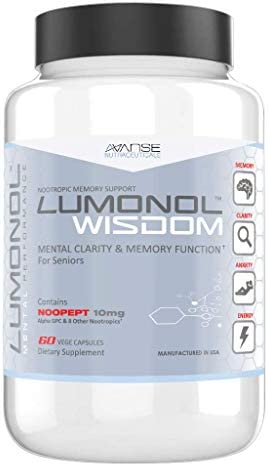 Lumonol Wisdom 60ct A Breakthrough Nootropic Brain Supplement for Senior Citizens Designed to prolong Clarity, Vitality, and Reduce Memory Loss for The Elderly.