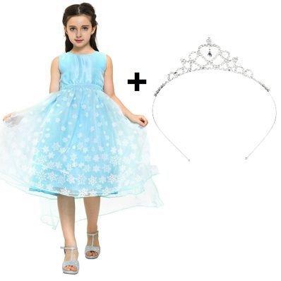 Katara 1842 Vestido de Princesa Elsa y Tiara Frozen Falda de Tul 8-9 Años, Azul