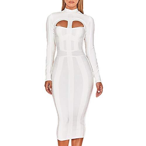 HLBandage Elegant High Neck Long Sleeve Hollow Out Celebrity Bandage Dress (M, White)