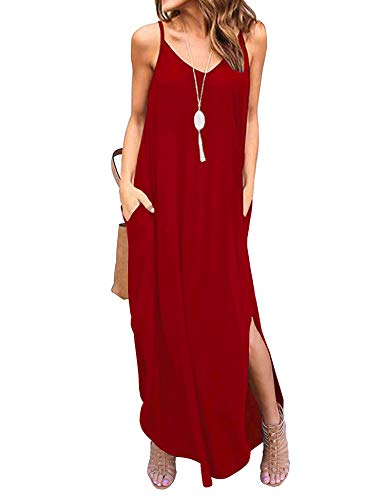 Newchoice Womens V Neck Sleeveless Long Summer Dresses Casual Loose Plain Maxi Dresses with Pockets (Red, S)