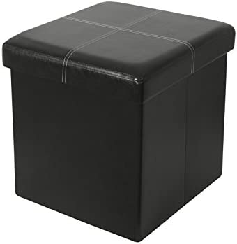 Cool Itidy Ottoman Folding Storage Ottoman Cube Bench Seat Foot Rest Stool Storage Chest Faux Leather Black Gmtry Best Dining Table And Chair Ideas Images Gmtryco