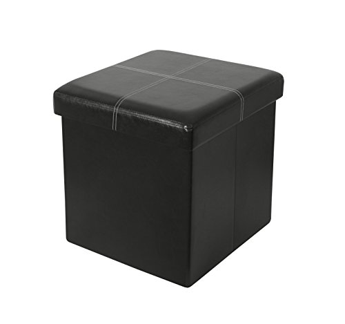 (ITIDY Ottoman, Folding Storage Ottoman Cube Bench, Seat, Foot Rest Stool, Storage Chest, Faux Leather, Black)