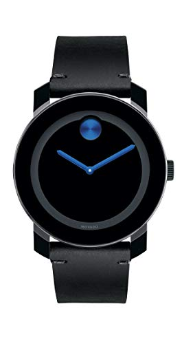 Movado Men's BOLD TR90 Watch with Sunray Dot and Leather Strap, Black/Blue (Model 3600307)
