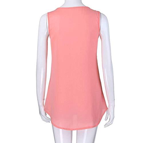 Chic V Dbardeur Costume Rose Cou Chemisiers Shirt Irrgulier Manche sans Camisoles lgant Plier Uni Mode Blouse Femme Tee Et Casual Manches Fille rXzr1av