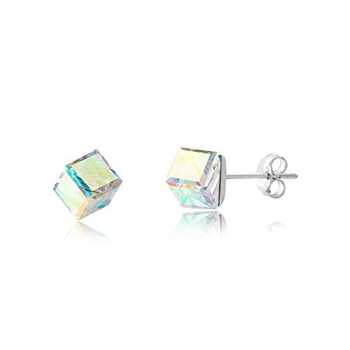 LESA MICHELE Prism Cube Earrings for Women in Stainless Steel made with Swarovski Crystals (Aurora Boreale) (Cube Earrings)