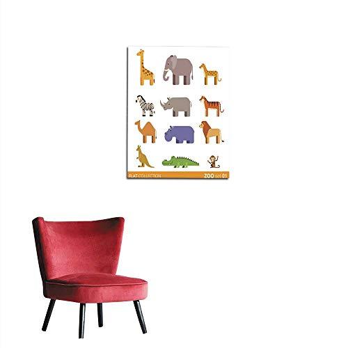 Photographic Wallpaper Cool flat design trendy style vector icon set Zoo children wild farm domestic animal cartoon collection Giraffe elephant cheetah zebra rhinoceros tiger camel hippmural 16