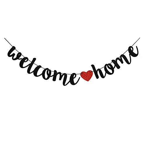 Welcome Home Banner for Home Party Sign Decorations,Red & Black Family Theme Party Supplies]()