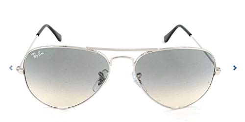 Ray-Ban Aviator Classic, Silver/ Crystal Grey Gradient, 55 mm - Frame Brown Gray Gradient Lenses