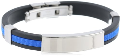 Men's Rubber Black, Blue with Greek Key Accent and Stainless Steel Identification Tag, Comes with Push and Click Clasp Bracelet, 8.5