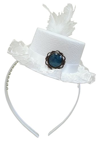 White Queen Mini Top Hat Fascinator Alice in Wonderland Tea Party Wedding Princess (Alice In Wonderland Childrens Costumes)