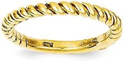 14k Polished Twisted Band, 14 kt Yellow Gold, Size 6.5