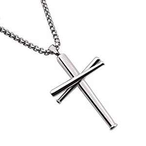 Best Epic Trends 31Csowe71RL._SS300_ RMOYI Cross Necklace Baseball Bats Athletes Cross Pendant Chain,Sport Stainless Steel Cross Necklaces for Men Women Boys…