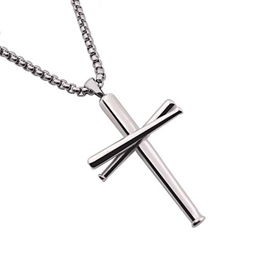 RMOYI Baseball Bats Necklace Athletes Pendant Chain,Sport Stainless Steel Necklaces for Men Women Boys Girls,Small Silver 20 Inches
