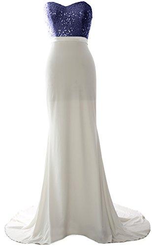 MACloth Women Mermaid Bridesmaid Dress Jersey Sequin Wedding Party Evening Gown (26w, Dark Navy-Ivory)