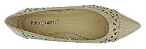 Pierre Dumas Womens Abby-13 Vegan Cuir Verni Laser Cut Bout Pointu Slip-on Flats Chaussures, Nude, 7 B (m) Us