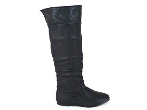 Damenstiefel mit flacher Stulpe, Overknees-Schlupfstiefel, Größe 35,5-42 Black Faux Leather (Mid Calf)