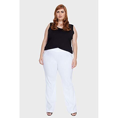 Calça Nervura Flare Plus Size Branco-44/46