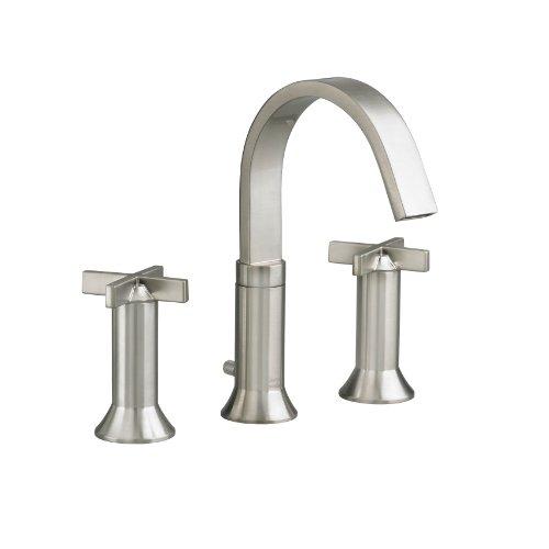 16' Widespread Kitchen Faucet - American Standard 7430.821.295 Berwick 2 Cross Handle Widespread Faucet, Satin Nickel