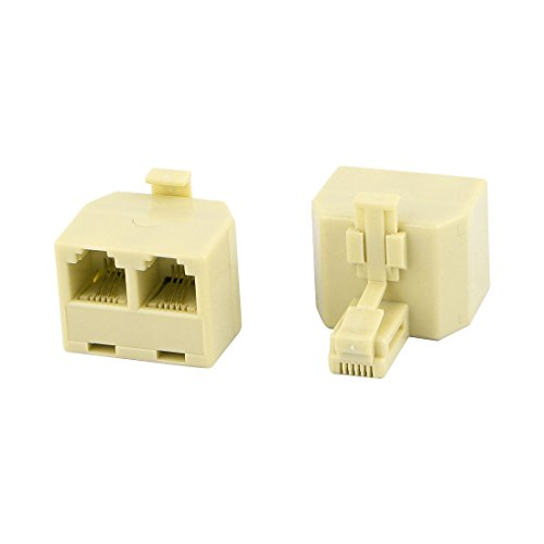 uxcell RJ11 Duplex Jack Telephone Cable Adapter Coupler 2 Pcs