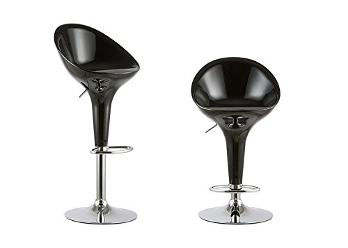 Waroom Home Barstools Set of 2, Adjustable Height Swivel Pub Bar Stools with ABS Plastic Seat and Chrome Footrest, Breakfast Kitchen Chair ()