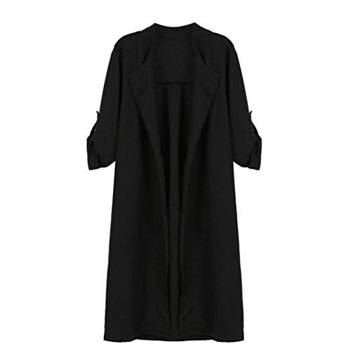 Abrigo de Mujer de Gran Tamaño Abierto, Logobeing Elegante Otoño Chaquetas de Abrigo Cardigan Cascada de Abrigo de Poliéster Negro
