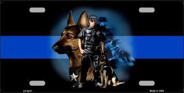 K9 License Plate - Smart Blonde Thin Blue Line Police K-9 Metal Novelty License Plate LP-4217