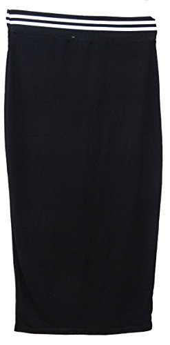 Para mujer Plain Jersey Midi Falda Mujer Negro Gris Rojo Vino rodilla Oficina de Trabajo Casual Bodycon elástico Falda negro