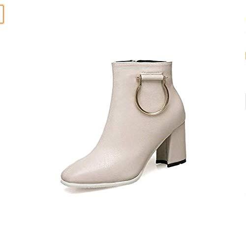 High Heels Dick mit Martin Stiefel Stiefeletten Damen dick mit hoher Martin Stiefel seitlich hoher mit Absatz (Farbe   Beige, Größe   39) 3fcb72