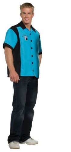 Bowling Shirt - Turquoise Costume - One Size - Chest Size 42-46 ()