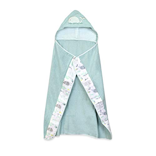 Just Born Woven Hooded Bath Wrap, Teal Whale, One Size ()